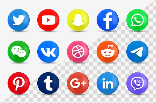 Social media icons in modern button - 3d round logos