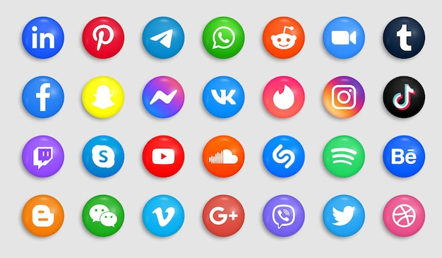 Social media icons in modern button or round logos