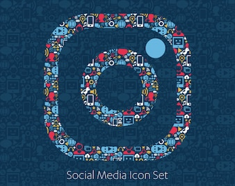 Social media icons, network, computer concept.