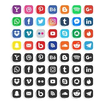 소셜 미디어 아이콘 또는 소셜 네트워크 로고 세트 컬렉션