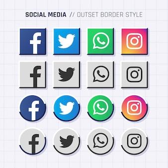 Social Media Icons Outline Border