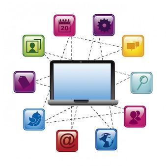 Значки социальных сетей на синем фоне векторные иллюстрации