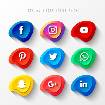 Social media icons pack 3d button effect