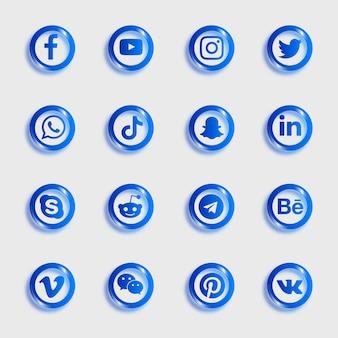 ソーシャルメディアのアイコンは青い色のアイコンでパック