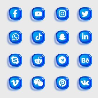 ソーシャルメディアのアイコンは青い柔らかい光沢のあるアイコンでパック