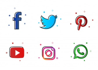 Social media icons set - Abstract Style