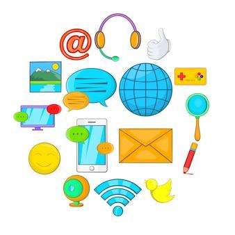 Social media icons set, cartoon style
