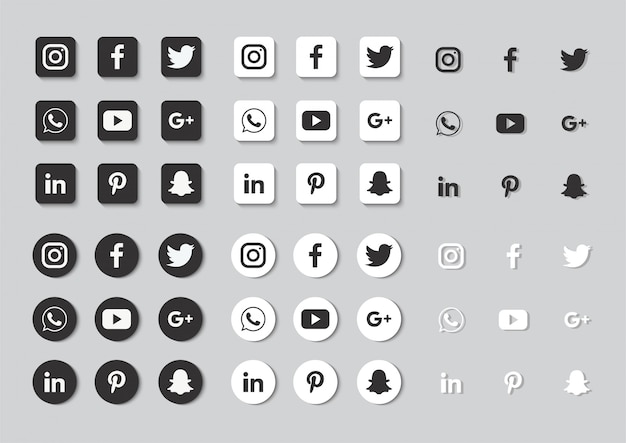 Social media icons set isolated on gray background.