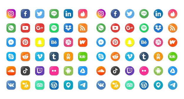 Social media icons set isolated