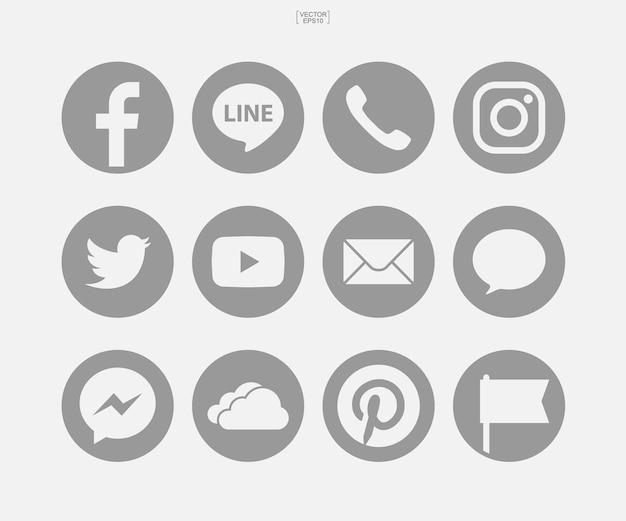 Набор иконок социальных сетей на белом фоне. векторная иллюстрация.