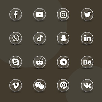 Social media icons silver glass collection pack