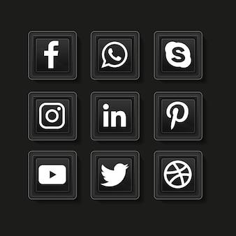 ソーシャルメディアのアイコン。ソーシャルメディアのロゴコレクション。