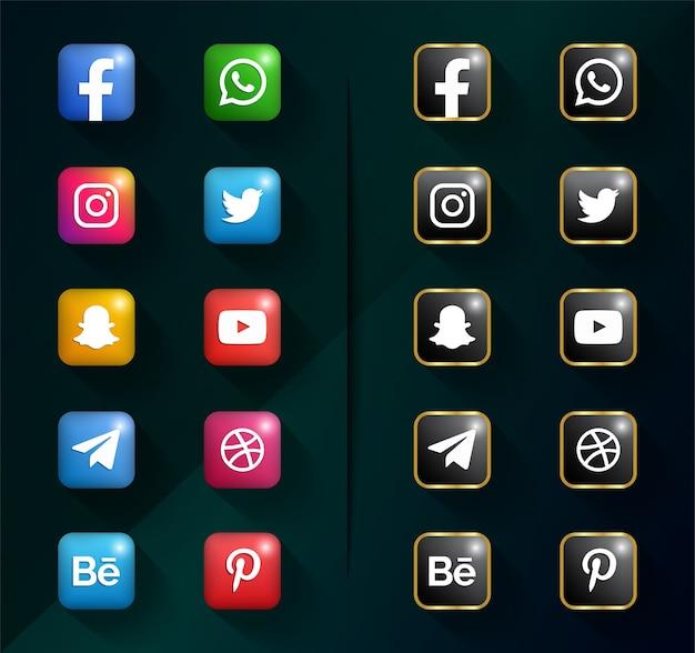 ソーシャルメディアのアイコン。ソーシャルメディアロゴパック