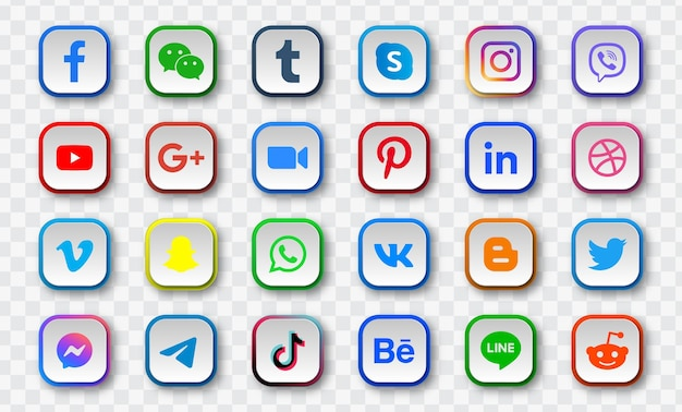 Social media icons in square with round corners modern buttons