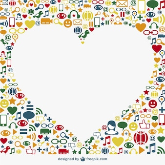 Social media icons surrounding a white heart