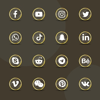 Social media icons transparent golden glass collection pack