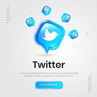 Social media icons twitter banner