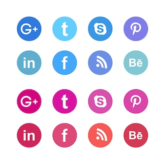 Social media icons in two different colors