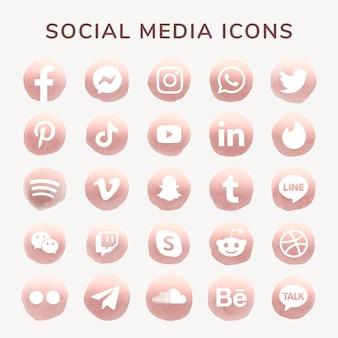 Social media icons vector set watercolor with facebook, instagram, twitter, tiktok, youtube etc