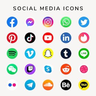 Facebook、instagram、twitter、tiktok、youtubeのロゴで設定されたソーシャルメディアアイコンベクトル