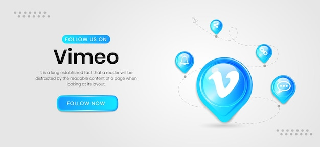 Social media icons vimeo banner