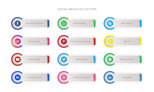 Social media icons with banner template collections