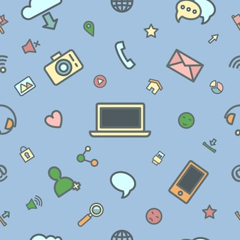 Social media icons with emoticons and internet devices seamless pattern.