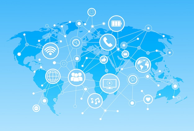 Social media icons over world map background network communication connection concept