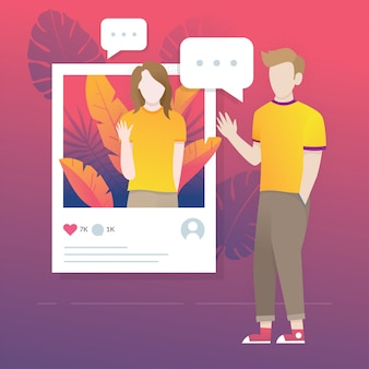 Social media illustration concept