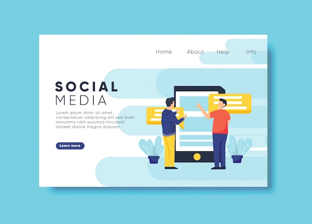 Social media illustration for landing page template