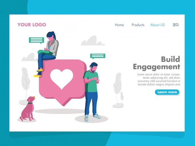 Social media illustration for landing page