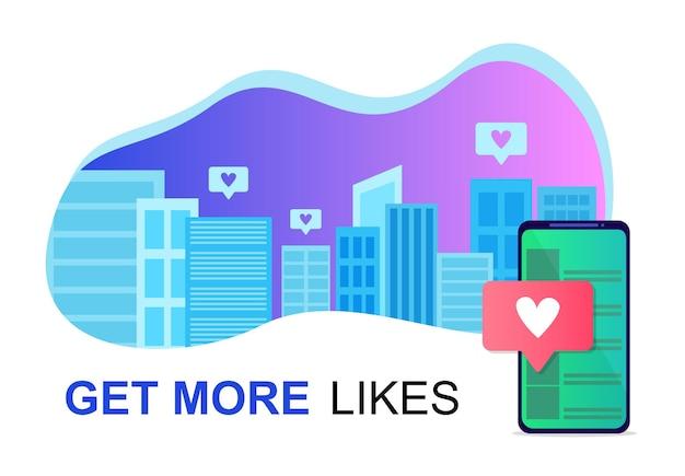 市内のソーシャルメディア。オンライン友達のライフスタイル。グラデーションベクトル図