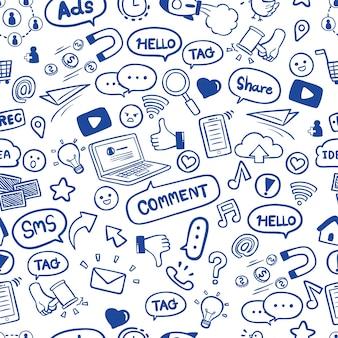 Социальные сети в руке рисованной каракули бесшовные модели