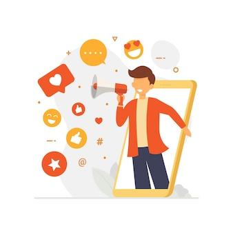 Иллюстрация концепции дизайна влиятельных лиц социальных сетей