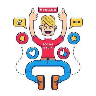 Social media influencer generation cartoon illustration character