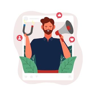 Social media influencer illustration. man holding megaphone and magnet in thr social profile frame with icon concept
