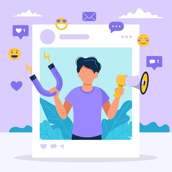 Social media influencer. illustration with man holding megaphone and magnet in the social profile frame.
