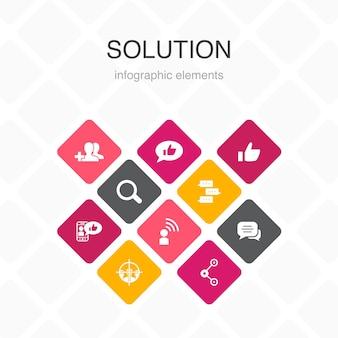 소셜 미디어 인포그래픽 10 옵션 template.like, 공유, 팔로우, 댓글 간단한 아이콘