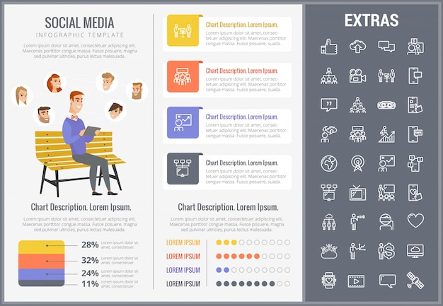 Social media infographic template, elements, icons