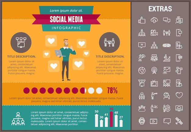 소셜 미디어 infographic 템플릿, 요소, 아이콘
