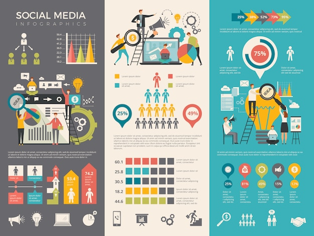 Social media infographic. work people socializing like rating sharing graphic social design template