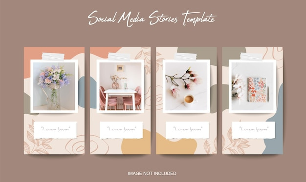 Social media instagram and facebook stories template with beautiful background
