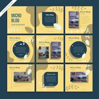소셜 미디어 인스 타 그램 피드 게시물 3x3 자연 컨셉