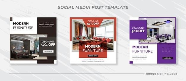 소셜 미디어 instagram 피드 게시물 및 이야기 가구 판매 배너 템플릿