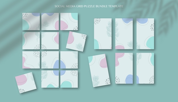 Social media instagram feed post and stories template in grid puzzle style with organic shape background