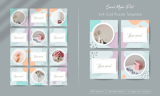 Social media instagram feed post template in grid puzzle style with organic shape background