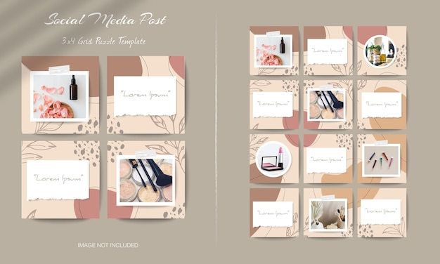 Social media instagram feed post template in grid puzzle style with organic shape