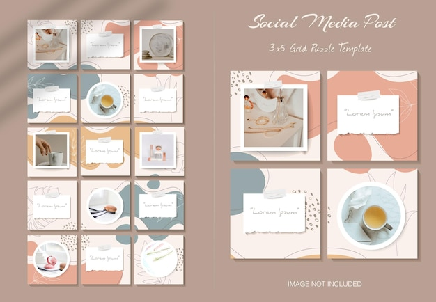Social media instagram feed post template in grid puzzle style