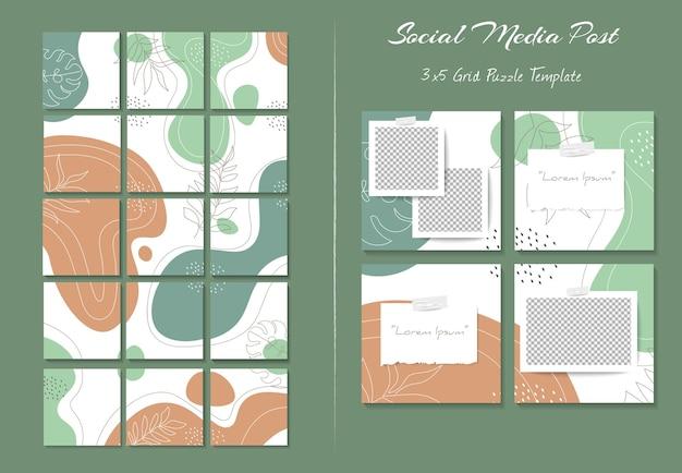 Шаблон сообщения instagram в социальных сетях в стиле головоломки с фоном органической формы