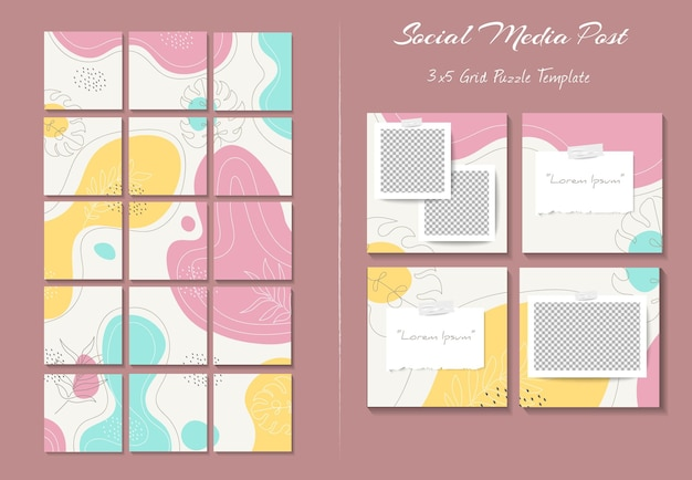 유기적 모양 배경이 있는 그리드 퍼즐 스타일의 소셜 미디어 인스타그램 피드 포스트 템플릿
